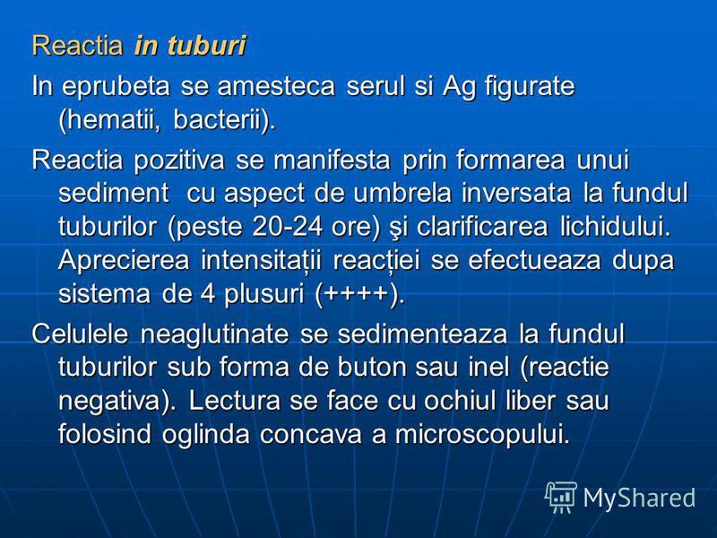 Reactia in tuburi In eprubeta se amesteca serul si Ag figurate (hematii, bacterii). Reactia pozitiva se manifesta prin formarea unui sediment cu aspect de umbrela inversata la fundul tuburilor (peste 20-24 ore) şi clarificarea lichidului. Aprecierea