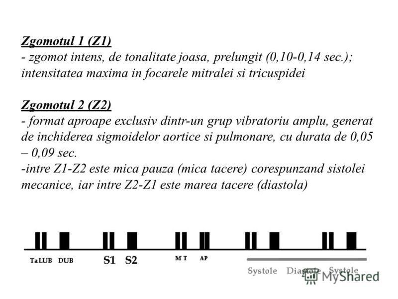 Zgomotul 1 (Z1) - zgomot intens, de tonalitate joasa, prelungit (0,10-0,14 sec.); intensitatea maxima in focarele mitralei si tricuspidei Zgomotul 2 (Z2) - format aproape exclusiv dintr-un grup vibratoriu amplu, generat de inchiderea sigmoidelor aort