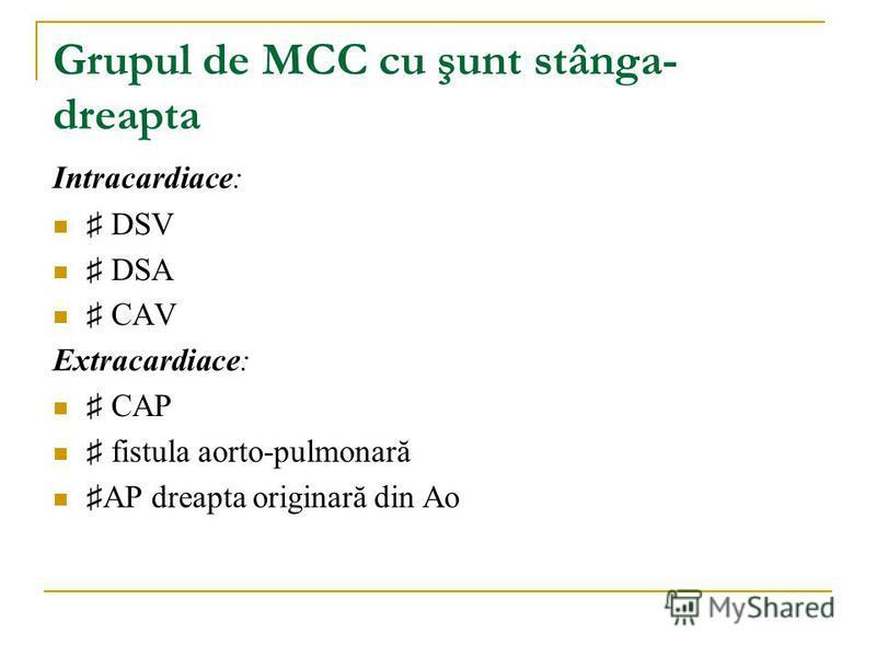 Grupul de MCC cu şunt stânga- dreapta Intracardiace: DSV DSA CAV Extracardiace: CAP fistula aorto-pulmonară AP dreapta originară din Ao