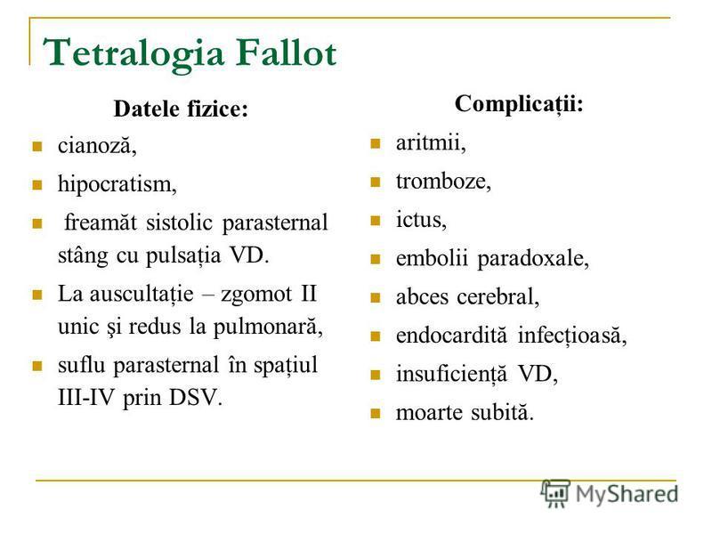 Tetralogia Fallot Datele fizice: cianoză, hipocratism, freamăt sistolic parasternal stâng cu pulsaţia VD. La auscultaţie – zgomot II unic şi redus la pulmonară, suflu parasternal în spaţiul III-IV prin DSV. Complicaţii: aritmii, tromboze, ictus, embo
