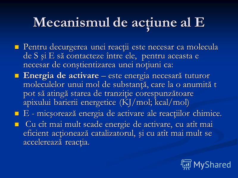 Mecanismul de acţiune al E Pentru decurgerea unei reacţii este necesar ca molecula de S şi E să contacteze între ele, pentru aceasta e necesar de conştientizarea unei noţiuni ca: Pentru decurgerea unei reacţii este necesar ca molecula de S şi E să co