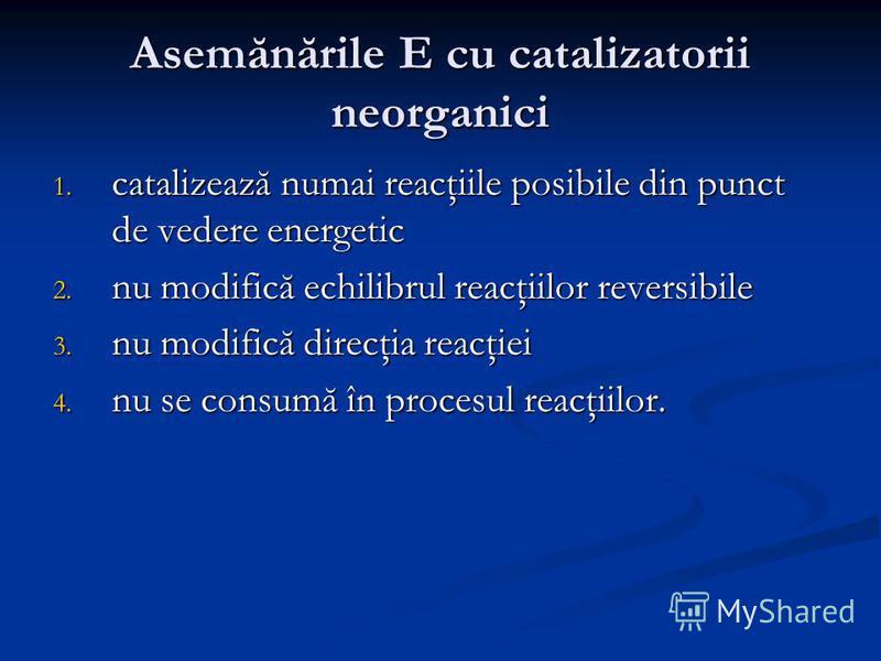 Asemănările E cu catalizatorii neorganici 1. catalizează numai reacţiile posibile din punct de vedere energetic 2. nu modifică echilibrul reacţiilor reversibile 3. nu modifică direcţia reacţiei 4. nu se consumă în procesul reacţiilor.