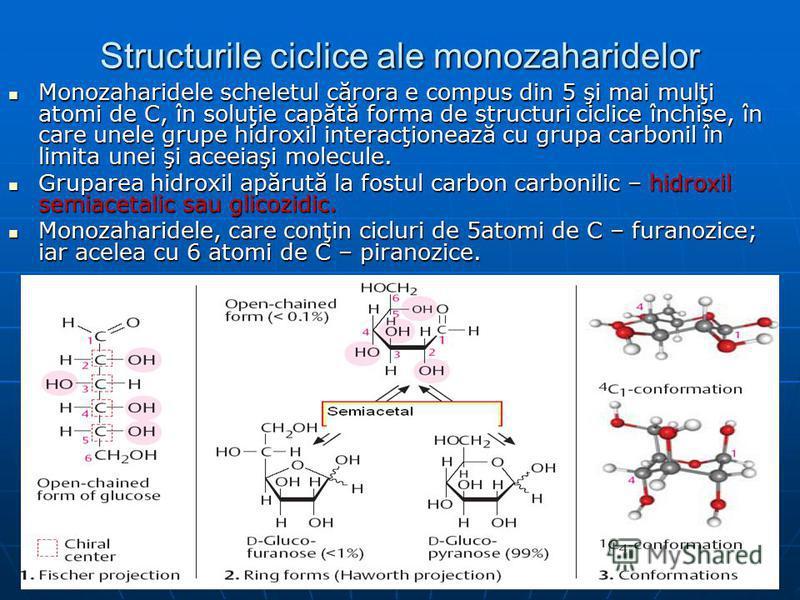 Structurile ciclice ale monozaharidelor Monozaharidele scheletul cărora e compus din 5 şi mai mulţi atomi de C, în soluţie capătă forma de structuri ciclice închise, în care unele grupe hidroxil interacţionează cu grupa carbonil în limita unei şi ace
