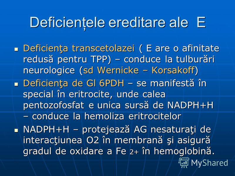 Deficienţele ereditare ale E Deficienţa transcetolazei ( E are o afinitate redusă pentru TPP) – conduce la tulburări neurologice (sd Wernicke – Korsakoff) Deficienţa transcetolazei ( E are o afinitate redusă pentru TPP) – conduce la tulburări neurolo