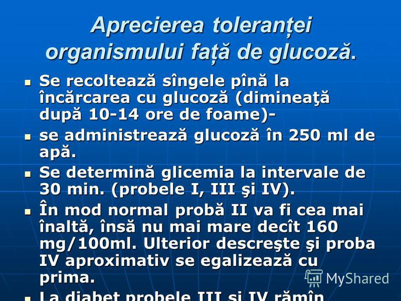 Aprecierea toleranţei organismului faţă de glucoză. Se recoltează sîngele pînă la încărcarea cu glucoză (dimineaţă după 10-14 ore de foame)- Se recoltează sîngele pînă la încărcarea cu glucoză (dimineaţă după 10-14 ore de foame)- se administrează glu