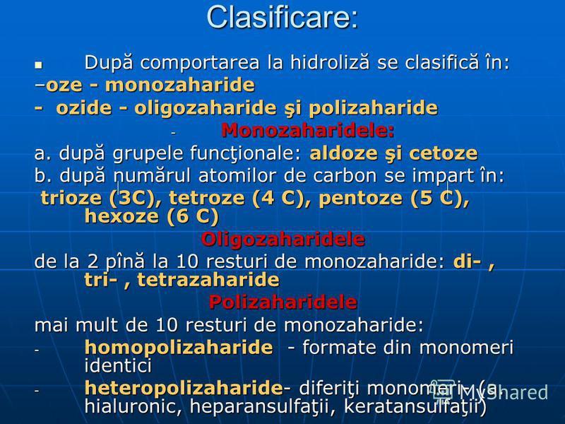 Clasificare: După comportarea la hidroliză se clasifică în: După comportarea la hidroliză se clasifică în: –oze - monozaharide - ozide - oligozaharide şi polizaharide - Monozaharidele: a. după grupele funcţionale: aldoze şi cetoze b. după numărul ato