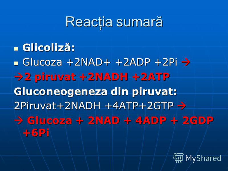 Reacţia sumară Glicoliză: Glicoliză: Glucoza +2NAD+ +2ADP +2Pi Glucoza +2NAD+ +2ADP +2Pi 2 piruvat +2NADH +2ATP 2 piruvat +2NADH +2ATP Gluconeogeneza din piruvat: 2Piruvat+2NADH +4ATP+2GTP 2Piruvat+2NADH +4ATP+2GTP Glucoza + 2NAD + 4ADP + 2GDP +6Pi G