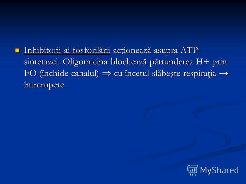 Inhibitorii ai fosforilării acţionează asupra ATP- sintetazei. Oligomicina blochează pătrunderea H+ prin FO (închide canalul) cu încetul slăbeşte respiraţia întrerupere. Inhibitorii ai fosforilării acţionează asupra ATP- sintetazei. Oligomicina bloch