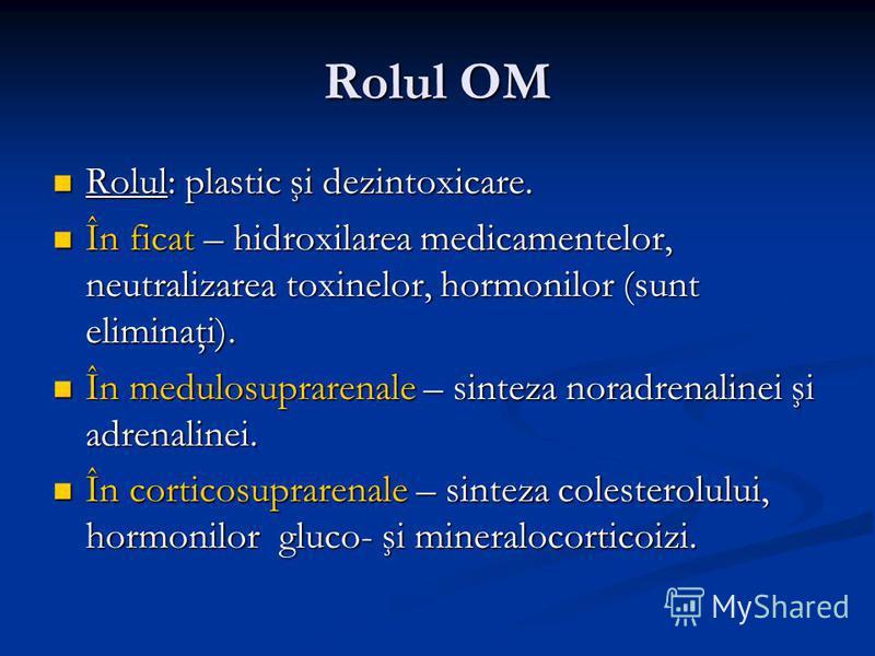 Rolul OM Rolul: plastic şi dezintoxicare. Rolul: plastic şi dezintoxicare. În ficat – hidroxilarea medicamentelor, neutralizarea toxinelor, hormonilor (sunt eliminaţi). În ficat – hidroxilarea medicamentelor, neutralizarea toxinelor, hormonilor (sunt