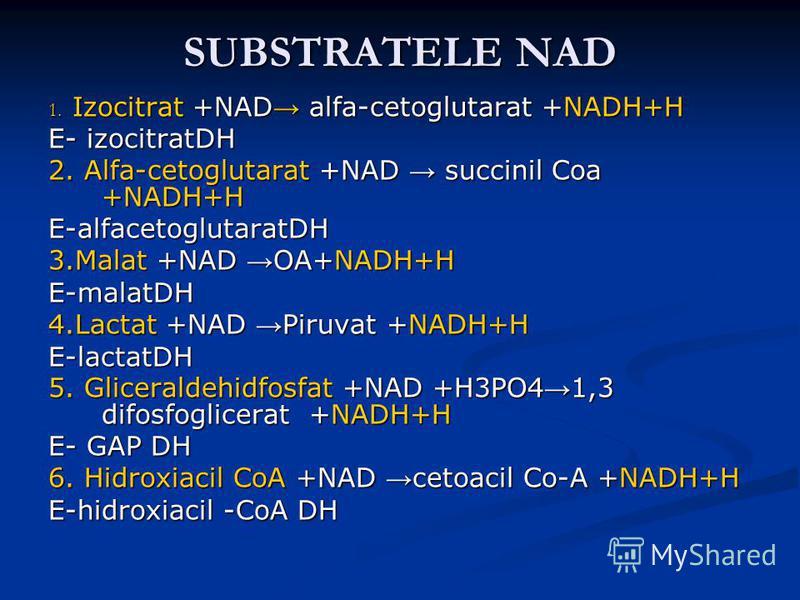 SUBSTRATELE NAD 1. Izocitrat +NAD alfa-cetoglutarat +NADH+H E- izocitratDH 2. Alfa-cetoglutarat +NAD succinil Coa +NADH+H E-alfacetoglutaratDH 3.Malat +NAD OA+NADH+H E-malatDH 4.Lactat +NAD Piruvat +NADH+H E-lactatDH 5. Gliceraldehidfosfat +NAD +H3PO