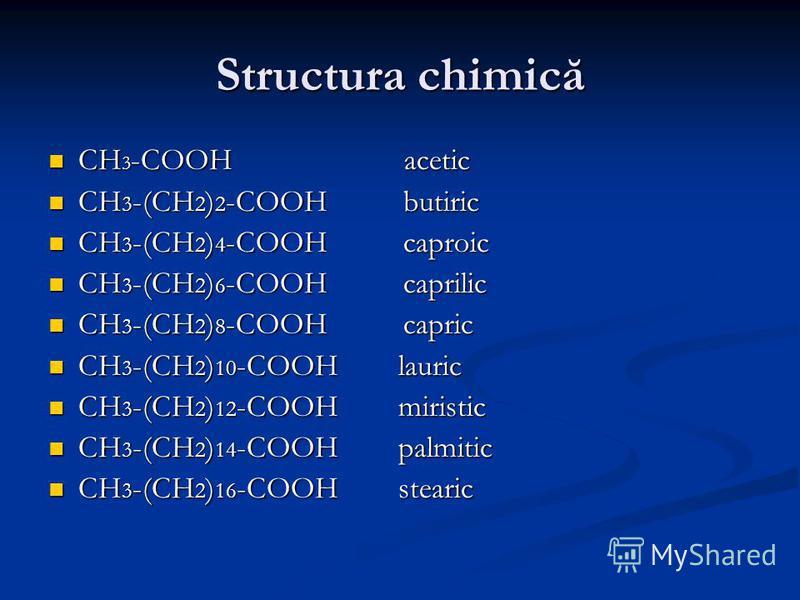 Structura chimică CH 3 -COOH acetic CH 3 -COOH acetic CH 3 -(CH 2 ) 2 -COOH butiric CH 3 -(CH 2 ) 2 -COOH butiric CH 3 -(CH 2 ) 4 -COOH caproic CH 3 -(CH 2 ) 4 -COOH caproic CH 3 -(CH 2 ) 6 -COOH caprilic CH 3 -(CH 2 ) 6 -COOH caprilic CH 3 -(CH 2 )