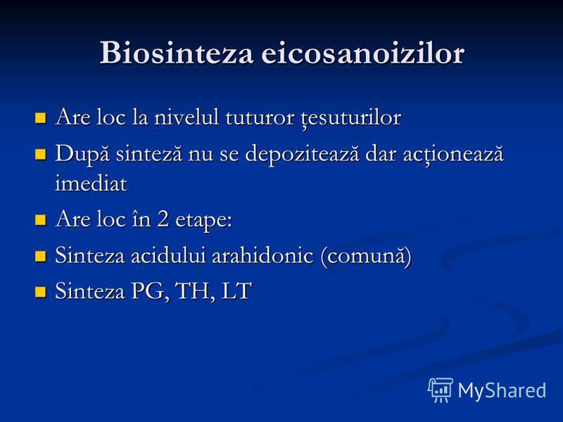 Biosinteza eicosanoizilor Are loc la nivelul tuturor ţesuturilor Are loc la nivelul tuturor ţesuturilor După sinteză nu se depozitează dar acţionează imediat După sinteză nu se depozitează dar acţionează imediat Are loc în 2 etape: Are loc în 2 etape
