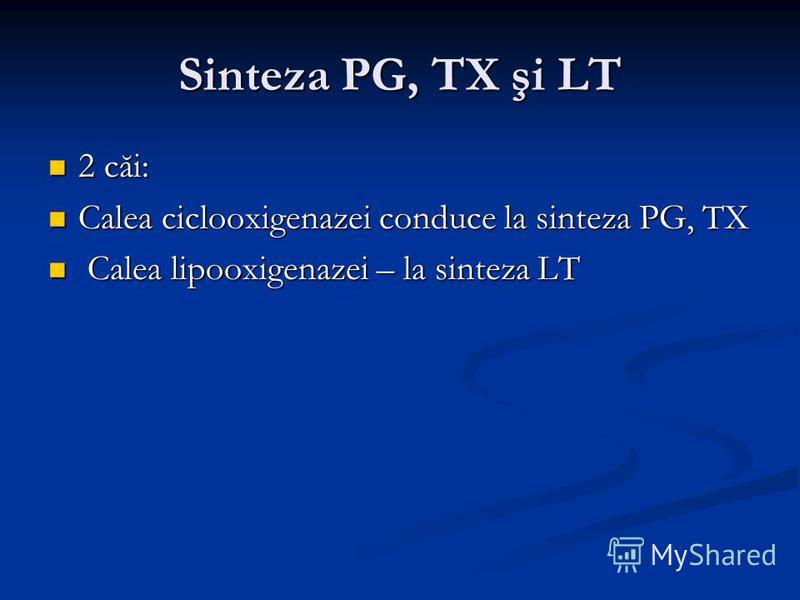 Sinteza PG, TX şi LT 2 căi: 2 căi: Calea ciclooxigenazei conduce la sinteza PG, TX Calea ciclooxigenazei conduce la sinteza PG, TX Calea lipooxigenazei – la sinteza LT Calea lipooxigenazei – la sinteza LT