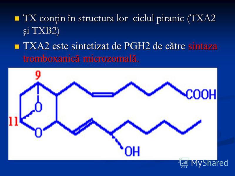 TX conţin în structura lor ciclul piranic (TXA2 şi TXB2) TX conţin în structura lor ciclul piranic (TXA2 şi TXB2) TXA2 este sintetizat de PGH2 de către sintaza tromboxanică microzomală. TXA2 este sintetizat de PGH2 de către sintaza tromboxanică micro