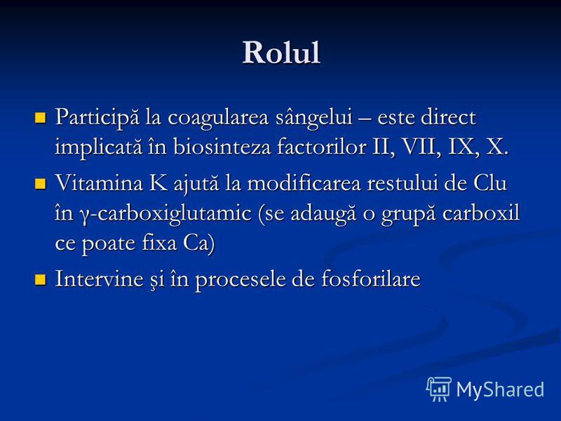 Rolul Participă la coagularea sângelui – este direct implicată în biosinteza factorilor II, VII, IX, X. Participă la coagularea sângelui – este direct implicată în biosinteza factorilor II, VII, IX, X. Vitamina K ajută la modificarea restului de Clu