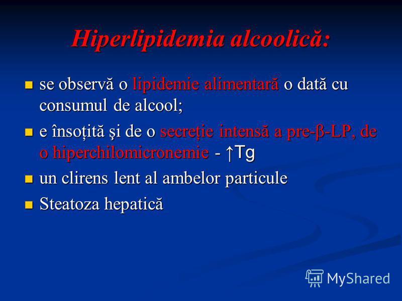 Hiperlipidemia alcoolică: se observă o lipidemie alimentară o dată cu consumul de alcool; se observă o lipidemie alimentară o dată cu consumul de alcool; e însoţită şi de o secreţie intensă a pre-β-LP, de o hiperchilomicronemie - Tg e însoţită şi de