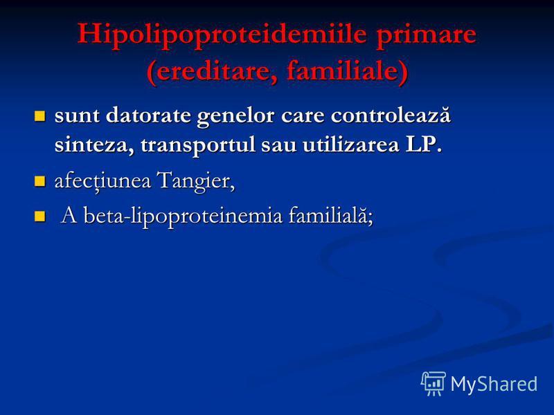 Hipolipoproteidemiile primare (ereditare, familiale) sunt datorate genelor care controlează sinteza, transportul sau utilizarea LP. sunt datorate genelor care controlează sinteza, transportul sau utilizarea LP. afecţiunea Tangier, afecţiunea Tangier,