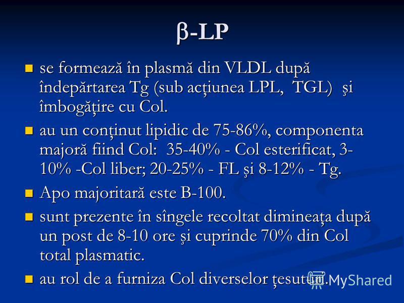-LP -LP se formează în plasmă din VLDL după îndepărtarea Tg (sub acţiunea LPL, TGL) şi îmbogăţire cu Col. se formează în plasmă din VLDL după îndepărtarea Tg (sub acţiunea LPL, TGL) şi îmbogăţire cu Col. au un conţinut lipidic de 75-86%, componenta m
