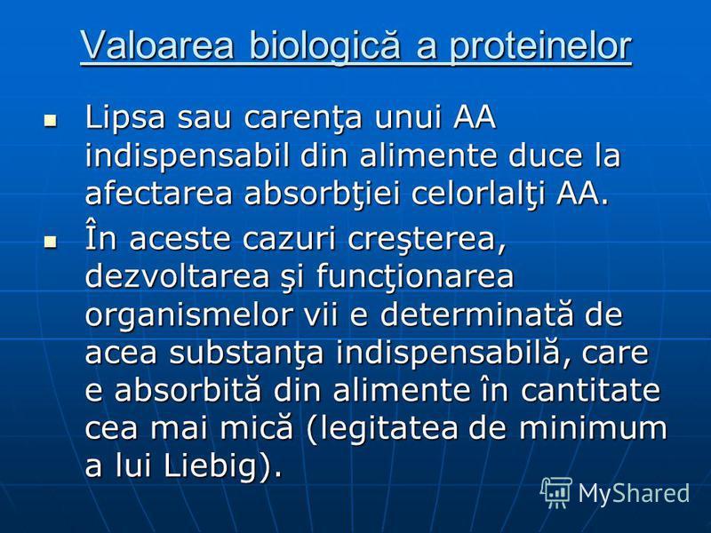 Valoarea biologică a proteinelor Lipsa sau carenţa unui AA indispensabil din alimente duce la afectarea absorbţiei celorlalţi AA. Lipsa sau carenţa unui AA indispensabil din alimente duce la afectarea absorbţiei celorlalţi AA. În aceste cazuri creşte