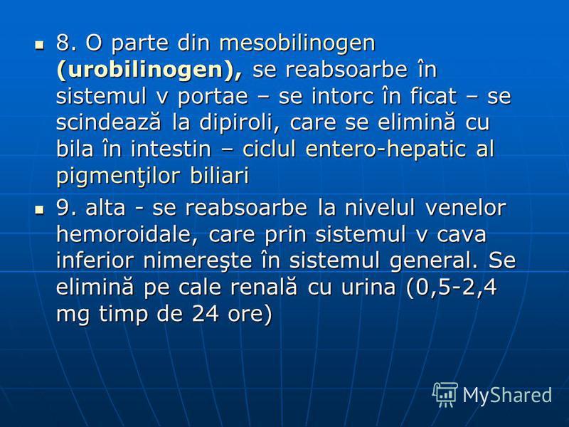 8. O parte din mesobilinogen (urobilinogen), se reabsoarbe în sistemul v portae – se intorc în ficat – se scindează la dipiroli, care se elimină cu bila în intestin – ciclul entero-hepatic al pigmenţilor biliari 8. O parte din mesobilinogen (urobilin