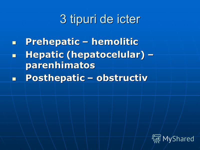 3 tipuri de icter Prehepatic – hemolitic Prehepatic – hemolitic Hepatic (hepatocelular) – parenhimatos Hepatic (hepatocelular) – parenhimatos Posthepatic – obstructiv Posthepatic – obstructiv
