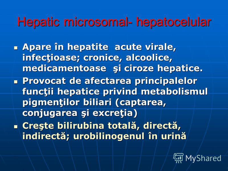 Hepatic microsomal- hepatocelular Apare în hepatite acute virale, infecţioase; cronice, alcoolice, medicamentoase şi ciroze hepatice. Apare în hepatite acute virale, infecţioase; cronice, alcoolice, medicamentoase şi ciroze hepatice. Provocat de afec