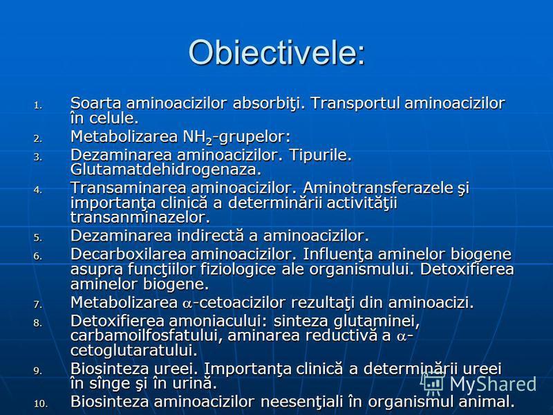 Obiectivele: 1. Soarta aminoacizilor absorbiţi. Transportul aminoacizilor în celule. 2. Metabolizarea NH 2 -grupelor: 3. Dezaminarea aminoacizilor. Tipurile. Glutamatdehidrogenaza. 4. Transaminarea aminoacizilor. Aminotransferazele şi importanţa clin