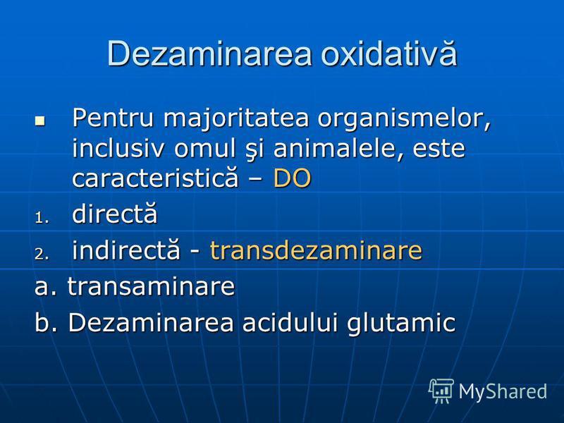Dezaminarea oxidativă Pentru majoritatea organismelor, inclusiv omul şi animalele, este caracteristică – DO Pentru majoritatea organismelor, inclusiv omul şi animalele, este caracteristică – DO 1. directă 2. indirectă - transdezaminare a. transaminar