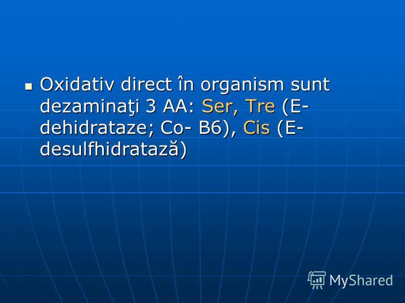 Oxidativ direct în organism sunt dezaminaţi 3 AA: Ser, Tre (E- dehidrataze; Co- B6), Cis (E- desulfhidratază) Oxidativ direct în organism sunt dezaminaţi 3 AA: Ser, Tre (E- dehidrataze; Co- B6), Cis (E- desulfhidratază)