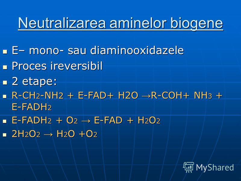 Neutralizarea aminelor biogene E– mono- sau diaminooxidazele E– mono- sau diaminooxidazele Proces ireversibil Proces ireversibil 2 etape: 2 etape: R-CH 2 -NH 2 + E-FAD+ H2O R-COH+ NH 3 + E-FADH 2 R-CH 2 -NH 2 + E-FAD+ H2O R-COH+ NH 3 + E-FADH 2 E-FAD