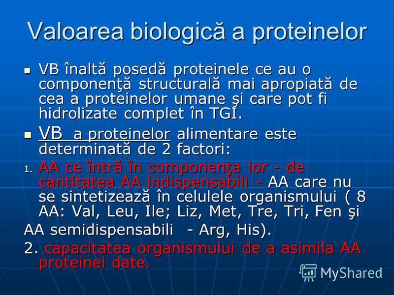 Valoarea biologică a proteinelor VB înaltă posedă proteinele ce au o componenţă structurală mai apropiată de cea a proteinelor umane şi care pot fi hidrolizate complet în TGI. VB înaltă posedă proteinele ce au o componenţă structurală mai apropiată d