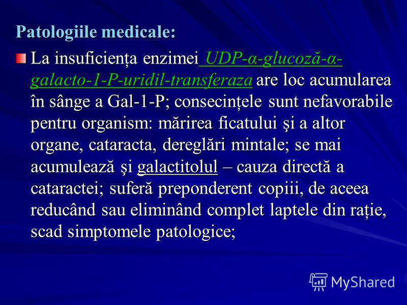 Patologiile medicale: La insuficienţa enzimei UDP-α-glucoză-α- galacto-1-P-uridil-transferaza are loc acumularea în sânge a Gal-1-P; consecinţele sunt nefavorabile pentru organism: mărirea ficatului şi a altor organe, cataracta, dereglări mintale; se