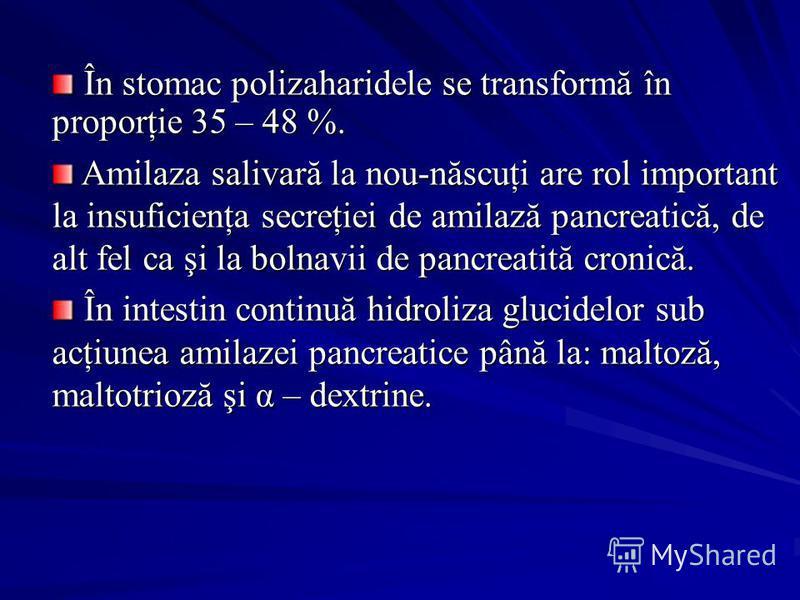 În stomac polizaharidele se transformă în proporţie 35 – 48 %. În stomac polizaharidele se transformă în proporţie 35 – 48 %. Amilaza salivară la nou-născuţi are rol important la insuficienţa secreţiei de amilază pancreatică, de alt fel ca şi la boln