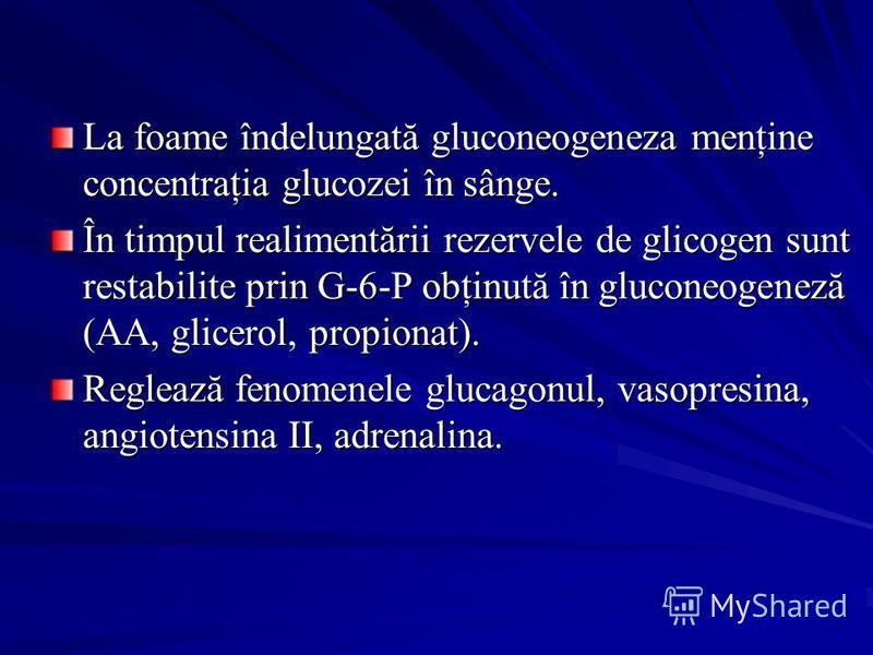 La foame îndelungată gluconeogeneza menţine concentraţia glucozei în sânge. În timpul realimentării rezervele de glicogen sunt restabilite prin G-6-P obţinută în gluconeogeneză (AA, glicerol, propionat). Reglează fenomenele glucagonul, vasopresina, a