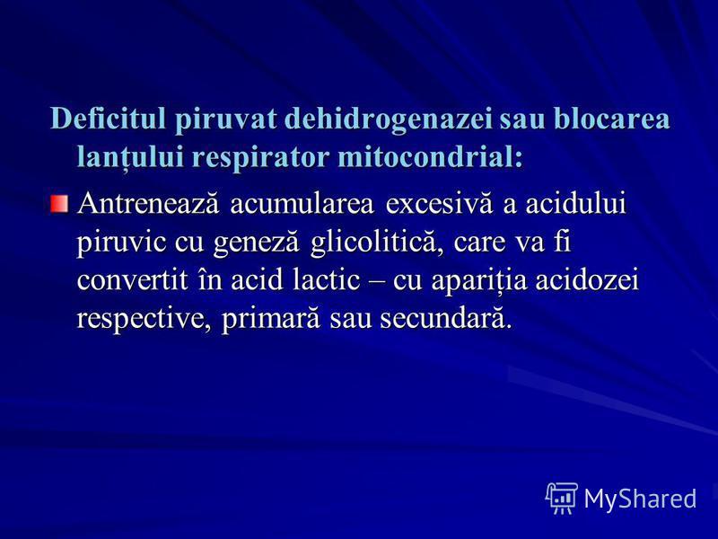 Deficitul piruvat dehidrogenazei sau blocarea lanţului respirator mitocondrial: Antrenează acumularea excesivă a acidului piruvic cu geneză glicolitică, care va fi convertit în acid lactic – cu apariţia acidozei respective, primară sau secundară.