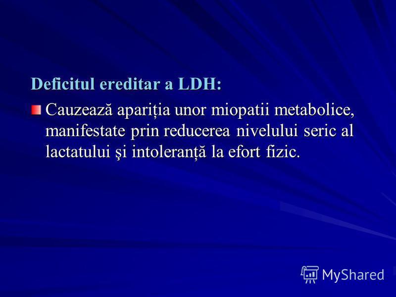 Deficitul ereditar a LDH: Cauzează apariţia unor miopatii metabolice, manifestate prin reducerea nivelului seric al lactatului şi intoleranţă la efort fizic.