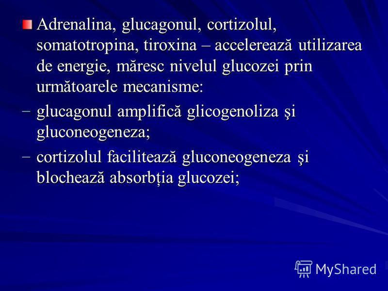 Adrenalina, glucagonul, cortizolul, somatotropina, tiroxina – accelerează utilizarea de energie, măresc nivelul glucozei prin următoarele mecanisme: glucagonul amplifică glicogenoliza şi gluconeogeneza; glucagonul amplifică glicogenoliza şi gluconeog