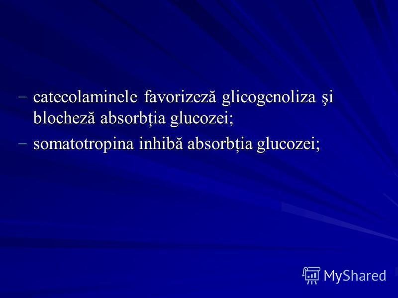 catecolaminele favorizeză glicogenoliza şi blocheză absorbţia glucozei; catecolaminele favorizeză glicogenoliza şi blocheză absorbţia glucozei; somatotropina inhibă absorbţia glucozei; somatotropina inhibă absorbţia glucozei;
