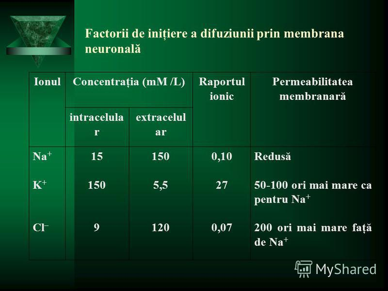 Factorii de iniţiere a difuziunii prin membrana neuronală IonulConcentraţia (mM /L)Raportul ionic Permeabilitatea membranară intracelula r extracelul ar Na + K + Cl – 15 150 9 150 5,5 120 0,10 27 0,07 Redusă 50-100 ori mai mare ca pentru Na + 200 ori