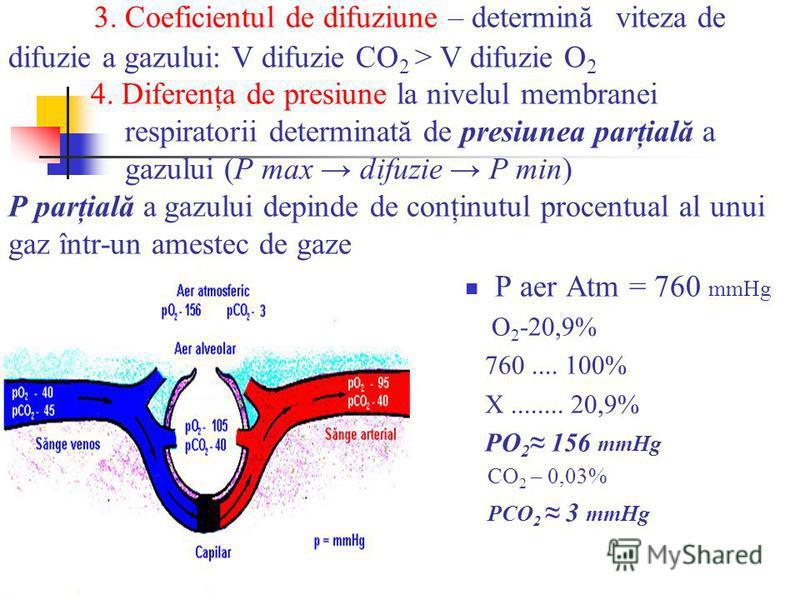 3. Coeficientul de difuziune – determină viteza de difuzie a gazului: V difuzie CO 2 > V difuzie O 2 4. Diferenţa de presiune la nivelul membranei respiratorii determinată de presiunea parţială a gazului (P max difuzie P min) P parţială a gazului dep