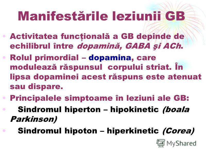 Manifestările leziunii GB Activitatea funcţională a GB depinde de echilibrul între dopamină, GABA şi ACh. Rolul primordial – dopamina, care modulează răspunsul corpului striat. În lipsa dopaminei acest răspuns este atenuat sau dispare. Principalele s
