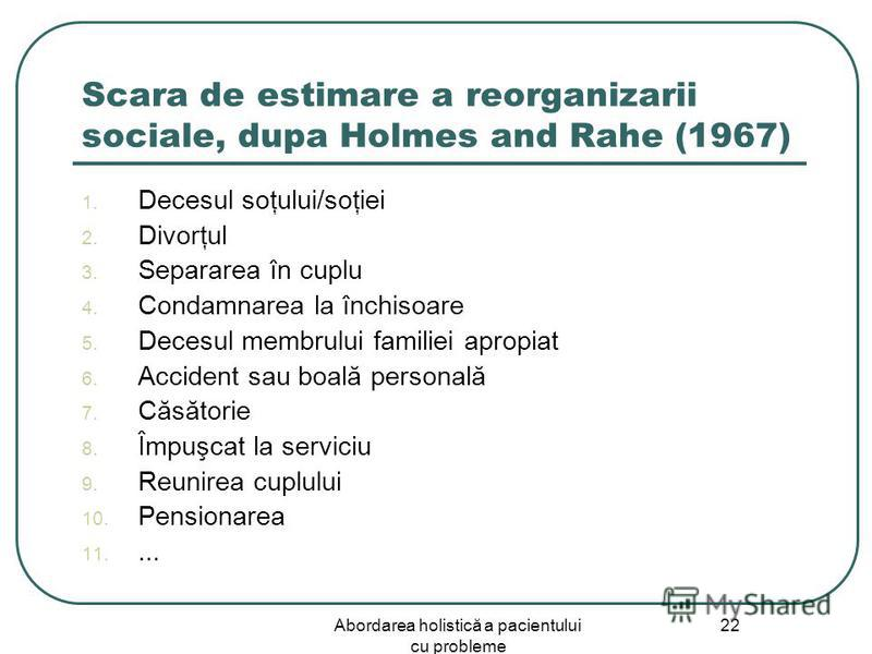 describe holmes and rahes 1967 social Holmes and rahe (1967) observed that major life changes often preceded illness these events could be both positive and negative but they were perceived as stressful because the change required that the person should adapt to a new situation.