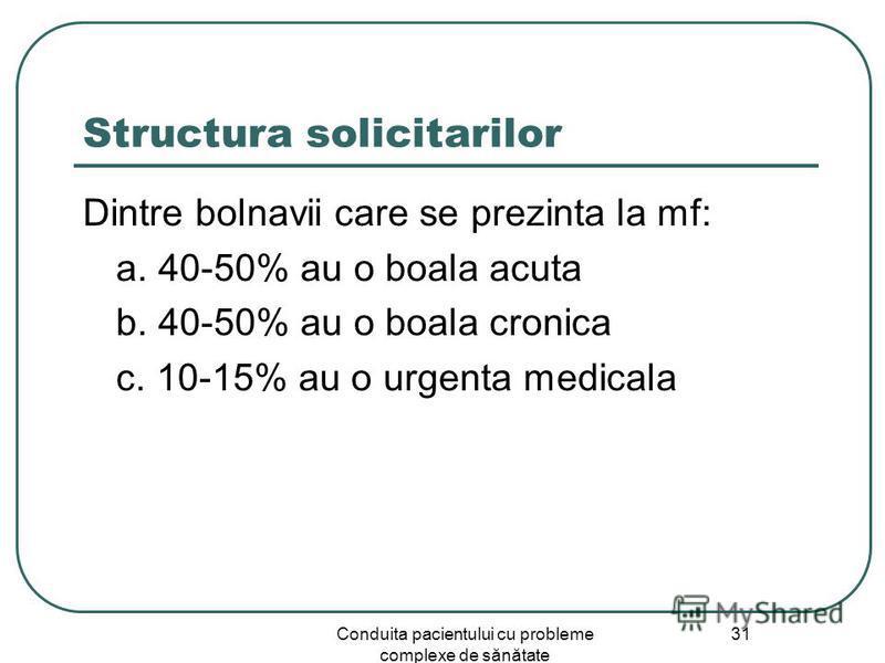 Conduita pacientului cu probleme complexe de sănătate 31 Structura solicitarilor Dintre bolnavii care se prezinta la mf: a. 40-50% au o boala acuta b. 40-50% au o boala cronica c. 10-15% au o urgenta medicala
