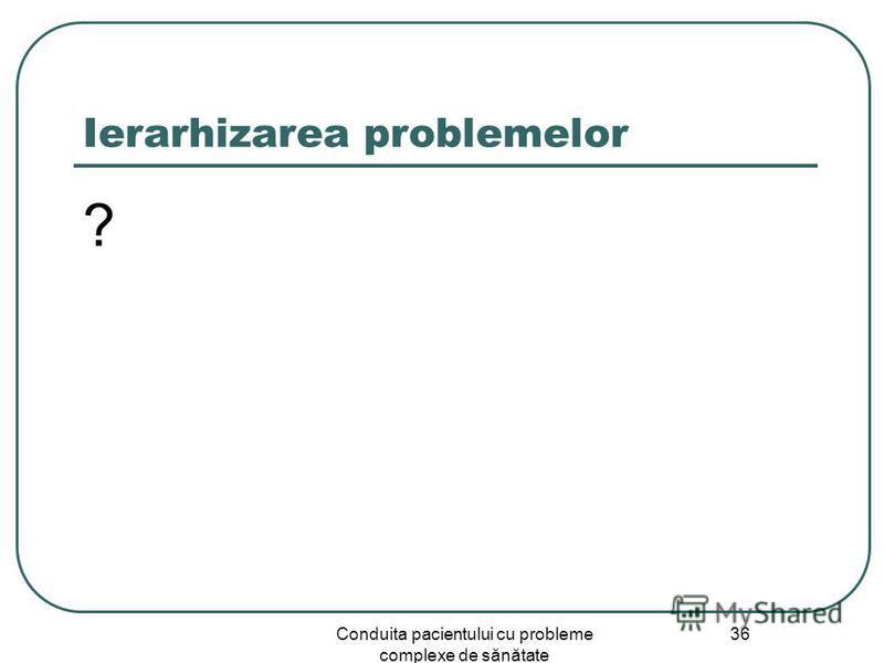 Conduita pacientului cu probleme complexe de sănătate 36 Ierarhizarea problemelor ?