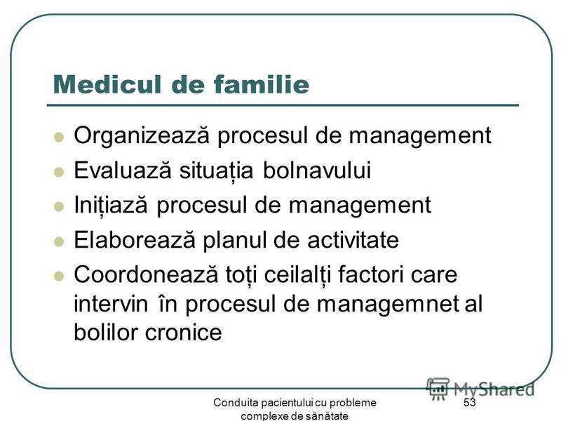 Conduita pacientului cu probleme complexe de sănătate 53 Medicul de familie Organizează procesul de management Evaluază situaţia bolnavului Iniţiază procesul de management Elaborează planul de activitate Coordonează toţi ceilalţi factori care intervi