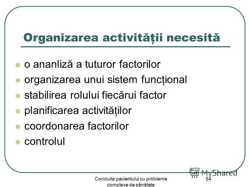 Conduita pacientului cu probleme complexe de sănătate 54 Organizarea activităţii necesită o ananliză a tuturor factorilor organizarea unui sistem funcţional stabilirea rolului fiecărui factor planificarea activităţilor coordonarea factorilor controlu