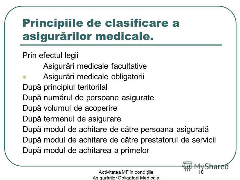 Activitatea MF în condiţiile Asigurărilor Obligatorii Medicale 10 Principiile de clasificare a asigurărilor medicale. Prin efectul legii Asigurări medicale facultative Asigurări medicale obligatorii După principiul teritorilal După numărul de persoan