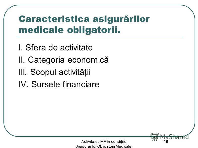 Activitatea MF în condiţiile Asigurărilor Obligatorii Medicale 19 Caracteristica asigurărilor medicale obligatorii. I. Sfera de activitate II. Categoria economică III. Scopul activităţii IV. Sursele financiare