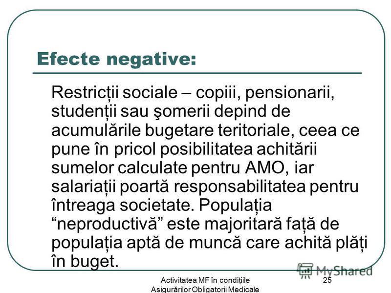 Activitatea MF în condiţiile Asigurărilor Obligatorii Medicale 25 Efecte negative: Restricţii sociale – copiii, pensionarii, studenţii sau şomerii depind de acumulările bugetare teritoriale, ceea ce pune în pricol posibilitatea achitării sumelor calc