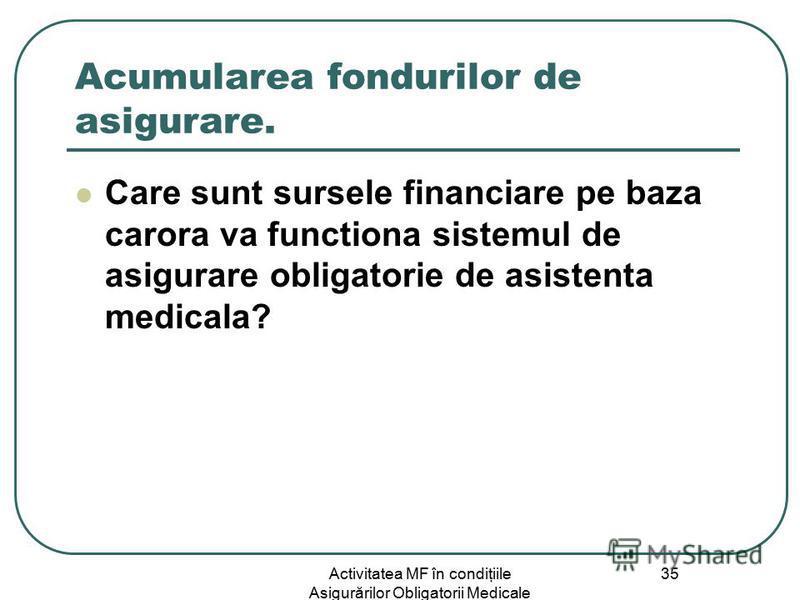 Activitatea MF în condiţiile Asigurărilor Obligatorii Medicale 35 Acumularea fondurilor de asigurare. Care sunt sursele financiare pe baza carora va functiona sistemul de asigurare obligatorie de asistenta medicala?